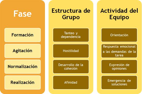Fases de desarrollo del trabajo en equipo